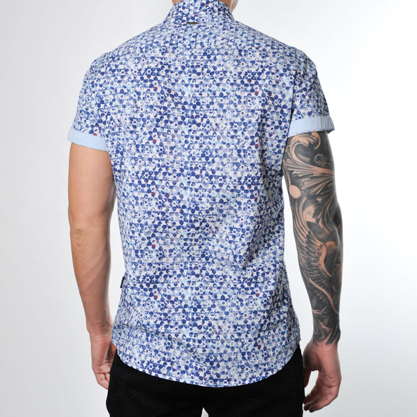 Slim Fit Blue Print Short Sleeve Shirt - FORNAX - White