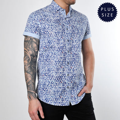 Plus Size Blue Print Short Sleeve Shirt - FORNAXS - White