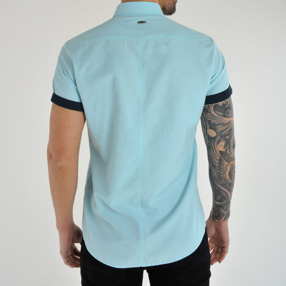 Slim Fit Oxford Short Sleeve Shirt - GALANDB - Aqua