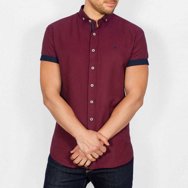 Slim Fit Oxford Short Sleeve Shirt - GALANDB - Burgundy