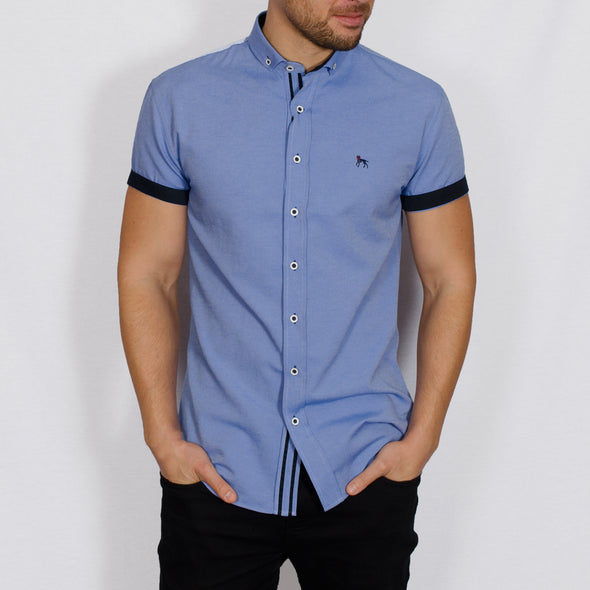 Slim Fit Oxford Short Sleeve Shirt - GALANDB - Chambray Blue