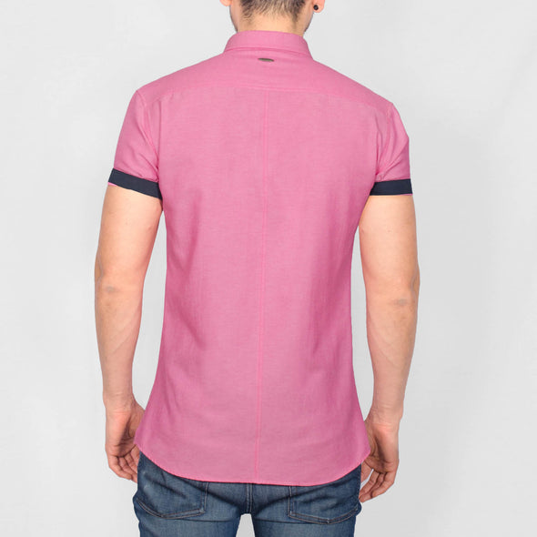 Slim Fit Oxford Short Sleeve Shirt - GALANDB - Hot Pink