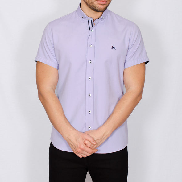 Slim Fit Oxford Short Sleeve Shirt - GALANDB - Lilac