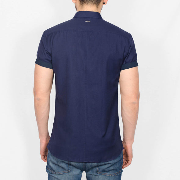 Slim Fit Oxford Short Sleeve Shirt - GALANDB - Navy