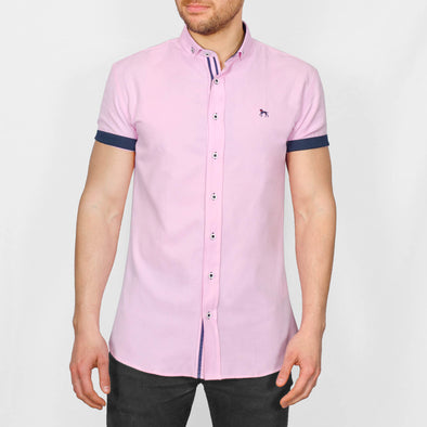 Slim Fit Oxford Short Sleeve Shirt - GALANDB - Pink