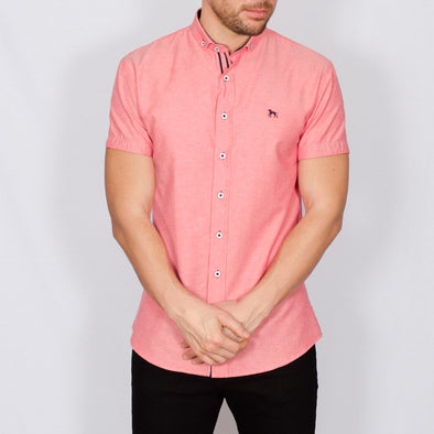 Slim Fit Oxford Short Sleeve Shirt - GALANDB - Red