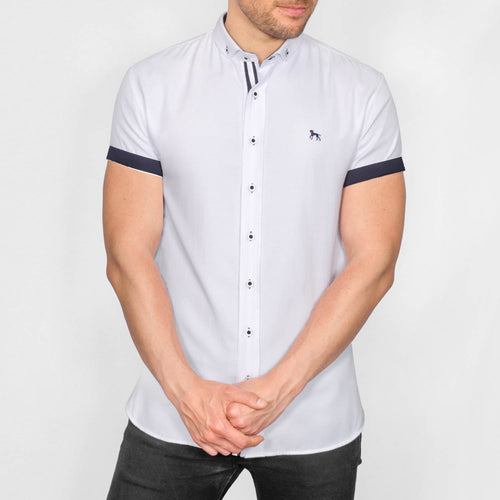 Slim Fit Oxford Short Sleeve Shirt - GALANDB - White