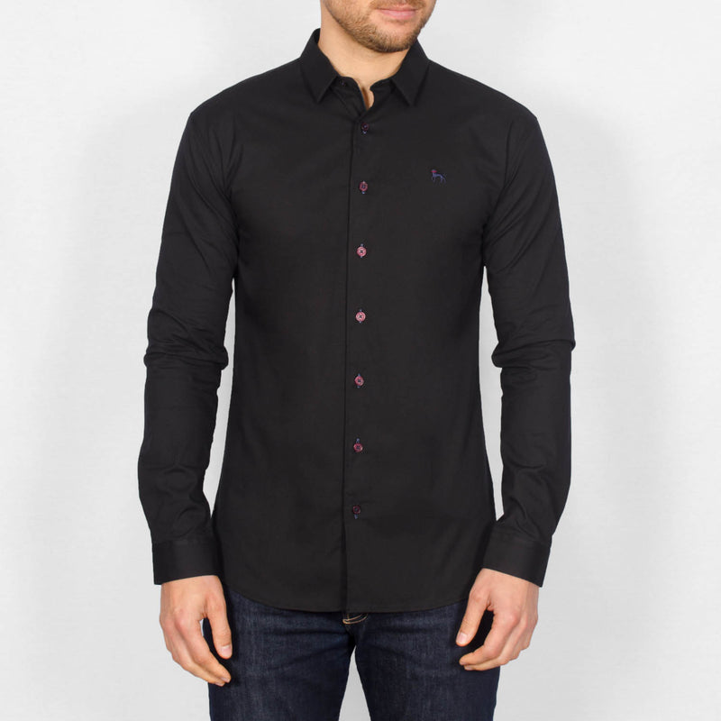 Stretch Oxford Long Sleeve Shirt - GLOBE - Black