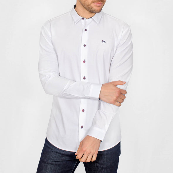 Stretch Oxford Long Sleeve Shirt - GLOBE - White