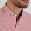Slim Fit Red Pattern Long Sleeve Shirt - HUBBLE - White