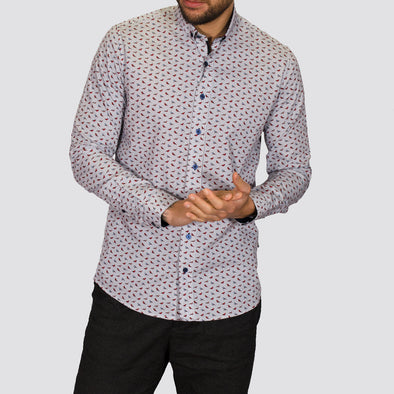 Slim Fit Bird Print Long Sleeve Shirt - HYDRUS - White
