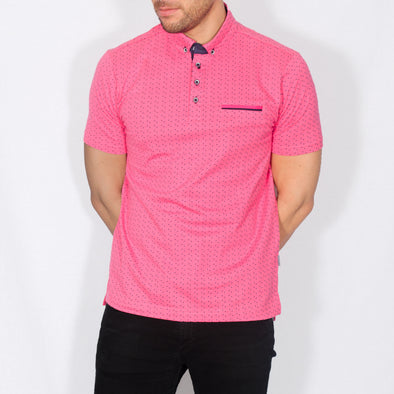 Digital Print Polo Shirt - ICED - Hot Pink