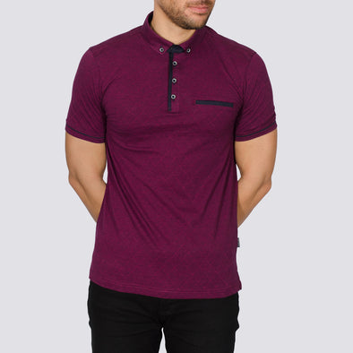 Cotton Polo Shirt - IDAHO - Damson