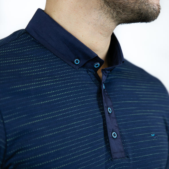 Jacquard Multi-Coloured Polo Shirt - RAD - Navy