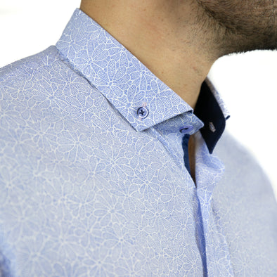 Slim Fit Flower Print Long Sleeve Shirt - WALLI - Blue