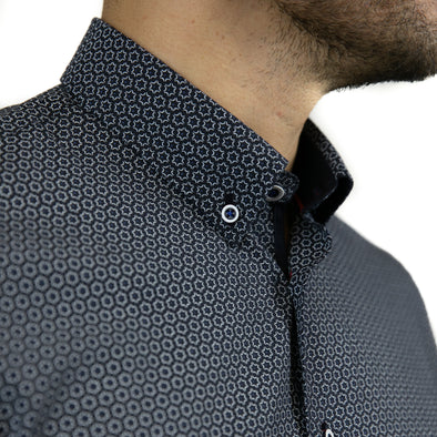 Slim Fit Patterned Long Sleeve Shirt - CAMB - Navy
