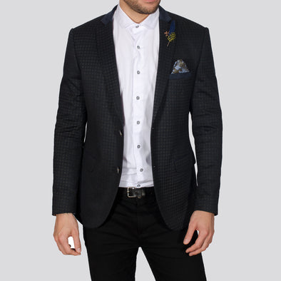 Stretch Checked Blazer - IOWA - Navy