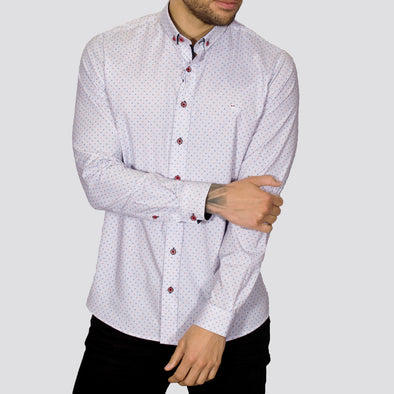 Slim Fit Microdot Long Sleeve Shirt - ITY - White