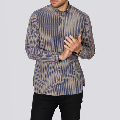 Slim Fit Geo Print Long Sleeve Shirt - KAR - Navy