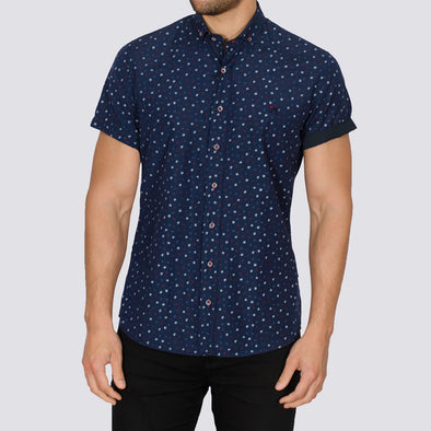 Slim Fit Micro Leaf Print Short Sleeve Shirt - LEA - Navy
