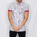 Slim Fit Leaf Print Short Sleeve Shirt - LEVINE - White