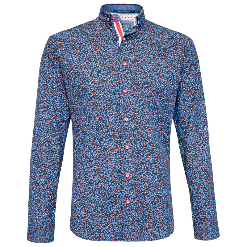 Lyons navy floral long sleeved shirt Bewley and Ritch