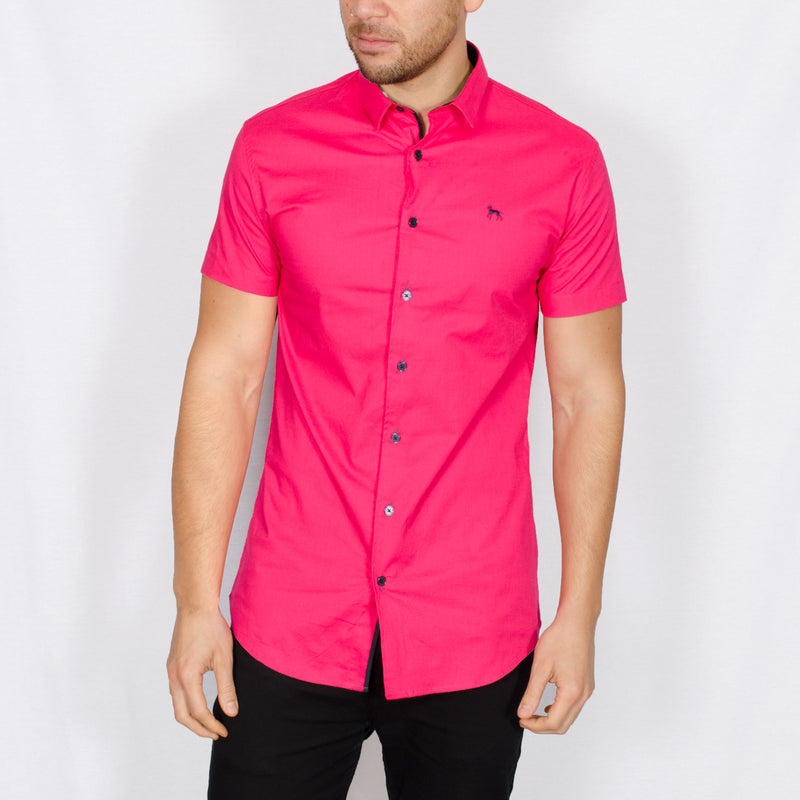 Stretch Short Sleeve Shirt - MAP - Hot Pink