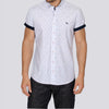 Slim Fit Ditsy Short Sleeve Shirt - MATARO - White