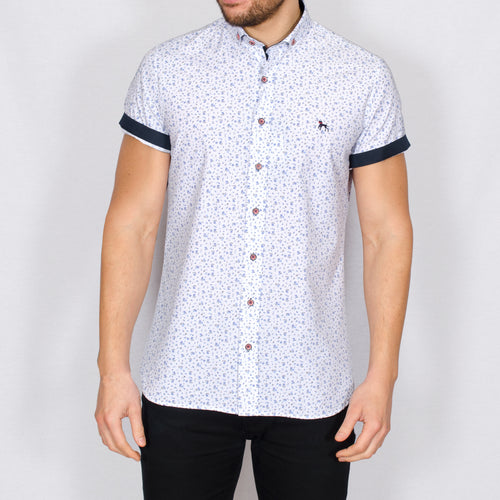 Slim Fit White Ditsy Short Sleeve Shirt – MATARO - White