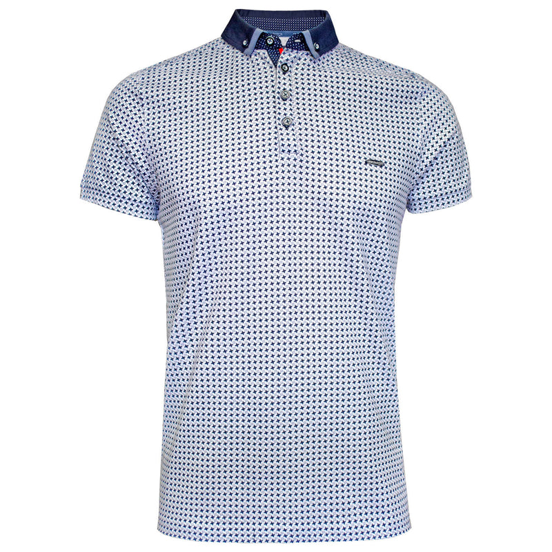 Mclean white printed polo shirt Bewley and Ritch