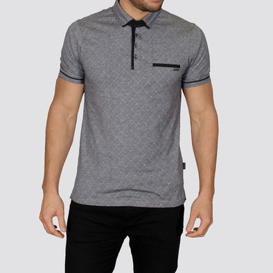 Diamond Patterned Polo Shirt - MISSO - Grey