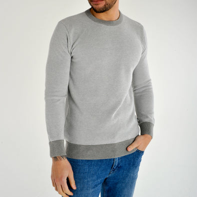 Lightweight Crew Neck Jumper - MONTAN - Grey