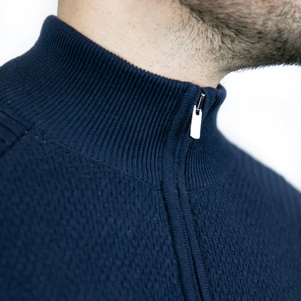 Full Zip Knitted Top - OREGON - Navy