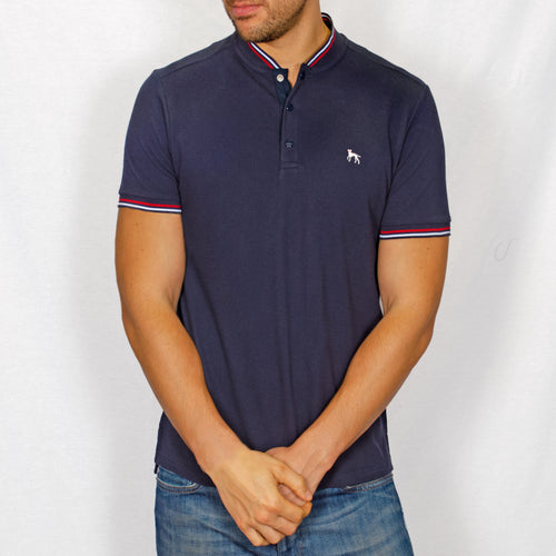 Polo Shirt with Baseball Collar - PARKAY - Navy