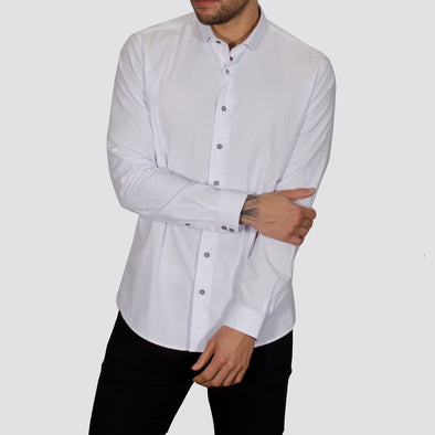 Slim Fit Stretch Oxford Long Sleeve Shirt - PLANET - White