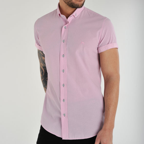 Slim Fit Dot Short Sleeve Shirt - POLLO - Pink