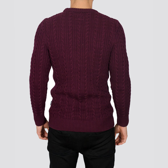 Cable Knit Jumper - PRESTON - Burgundy