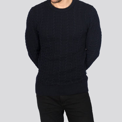 Cable Knit Jumper - PRESTON - Navy