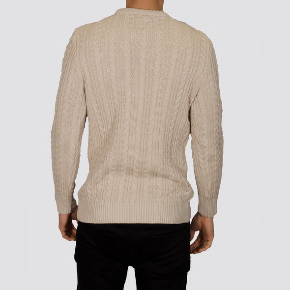 Cable Knit Jumper - PRESTON - Oatmeal