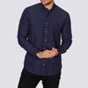 Slim Fit Polka Dot Long Sleeve Shirt - RAMPS - Navy