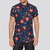 Slim Fit Floral Print Short Sleeve Shirt - ROV - Blue