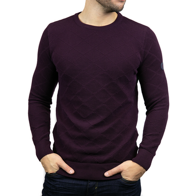 Lightweight Crew Neck Jumper - RYDER - Burgundy