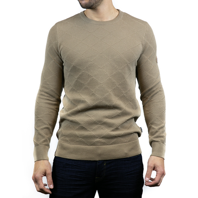 Lightweight Crew Neck Jumper - RYDER - Tan