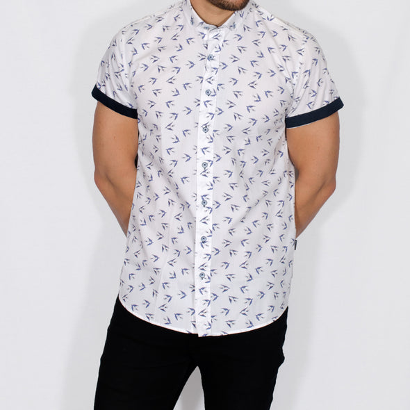 Slim Fit Bird Print Short Sleeve Shirt - SALI - White