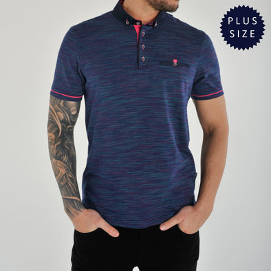 Plus Size Jacquard Multi-Coloured Polo Shirt - SANDROS - Navy