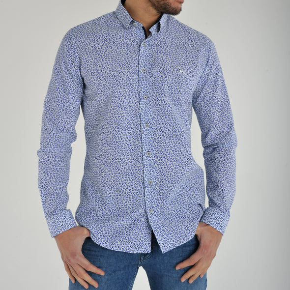 Slim Fit Blue Floral Long Sleeve Shirt - SANIS - White
