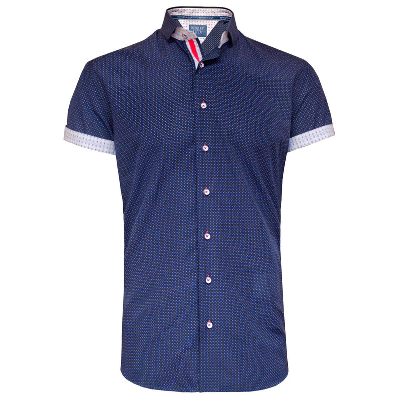Saul navy printed short sleeved shirt Bewley and Ritch