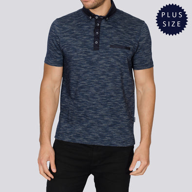 Plus Size Jacquard Polo Shirt - SFODEN - Navy
