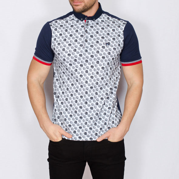 Digital Print Polo Shirt - SIGN - Navy