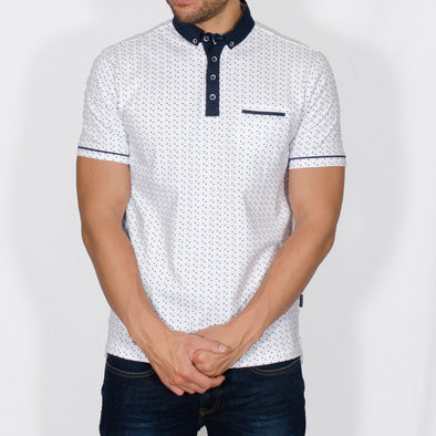 Triangle Print Polo Shirt - SLY - White